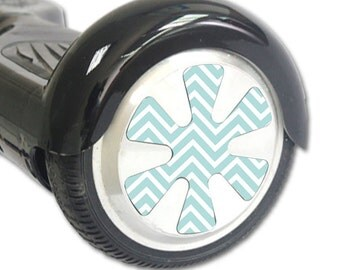 Skin Decal Wrap for Hoverboard Balance Board Scooter Wheels Aqua Chevron