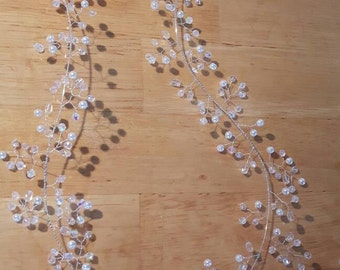 Extra long 120cm Hair vine/wrap, wedding, bridal, vintage, boho, prom. Made from White/Ivory pearl beads &crystals, silver plated wire base.