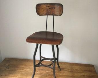 "Vintage early UHL toledo furniture stool stunning patina 24"" high"