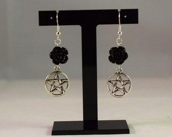 Pentagram & Rose Earrings