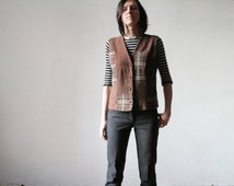 Vintage size L brown patchwork style waistcoat