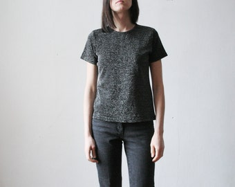 Vintage black silver metallic t shirt