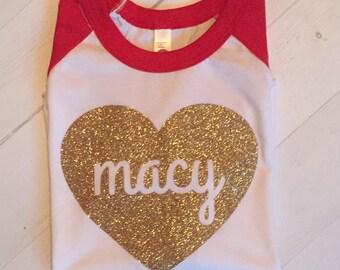Girls valentines shirt - valentines shirt - glitter valentine shirt - womens valentine shirt - glitter heart shirt - love shirt