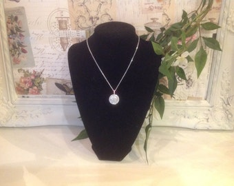White gold finished necklace with diamanté detail