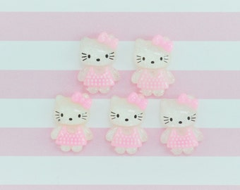 20mm Kawaii Pastel Pink Kitty Flatback Resin Decoden Cabochon - 5 piece set