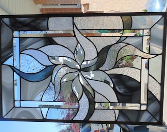 Stained Glass Window Hanging Abstract 25 1/2 X 17""