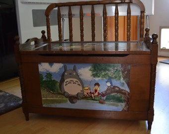 Antique Large Wood Wooden Toybox bench Chest Toybox Hand Carved hand Painted Totoro Miyazaki Storage