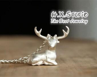 Handmade 3D Silver Deer Pendant, Silver Lovely Deer Pendant, Anniversary, Birthday, Christmas, Gift