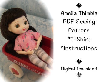 PDF T-Shirt Sewing Pattern with instructions for mini BJD Amelia Thimble