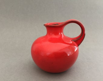 Gräflich Ortenburg 56 / 8 Red  handled vase made in the 1970s , West  German Pottery Mid Century Modernist. Ursula Beyraw / Irene Pasinski.