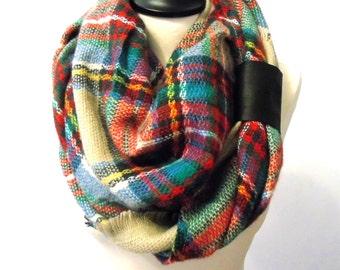 Blanket scarf, plaid scarf, chunky scarf, cowl scarf, women scarf blanket, tartan scarf, fall scarf