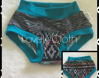 SIZE 4 Girls panties, scrundies, girls underwear, kids scrundies, toddler panties - Aztec