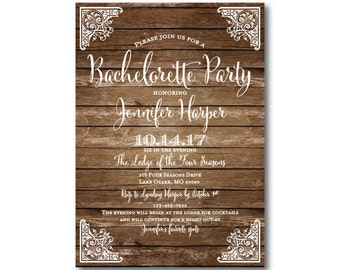 Rustic Bachelorette Party Invitation - Country Chic - Barn Wedding - Fall Wedding - Rustic Wedding - Printed Bachelorette Party Invitations