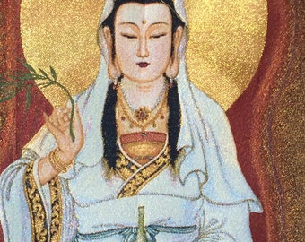 Kuan Yin Wall Hanging, Altar Piece Textile Weaving Thangha Like with Golden Threads