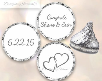 Wedding Hershey Kiss Stickers Favors Personalized Weddings Anniversaries Parties Customized Double Heart Date