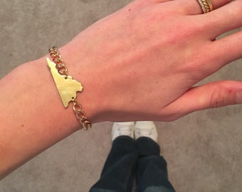 Virginia State Cutout Bracelet w/ Gold Chain