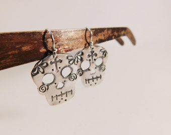 Sterling Silver Dangle Earrings - Sugar Skulls EB
