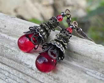 Glass Drop Earrings, Vintage Style, Brass Earrings, Victorian Earrings, Brass Jewelry, Boho Dangle Earrings, Red Glass Earrings, Antique