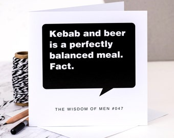 Birthday Card For Men; 'Kebab And Beer...' 18th Birthday Card For Boys; Card For Him; Card For Men; GC102