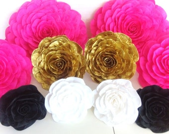 12 large paper flowers giant Anniversary pink gold black white bridal kate shower spade baby shower paper flowers wedding bakdrop wall Decor