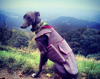 Greyhound Winter Dog Coat - Dog Jacket with underbelly protection - Custom Dog Raincoat - Waterproof / Fleece - Custom made for your dog