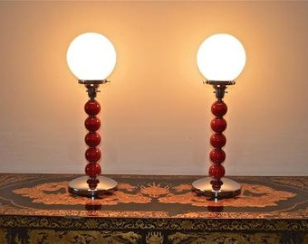 A stunning pair of Art Deco snooker ball lamps 2