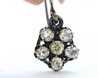Antique Diamond Earrings | Cluster Earrings | Halo Earrings | Old Mine Cut Diamonds |1.33 carats