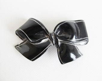 80s • Vintage • Brooch • Vintage Brooch • Black Brooch • Bow Pin • Black Bow Pin • Black Bow Brooch • 80s Black Brooch • Vintage Bow Brooch