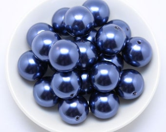 20mm Navy Blue Chunky Beads Bubble Gum Pearls (A66) Set of 10