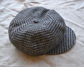 Vintage wool hat, vintage newsboy hat, pure wool newsboy cap, newsboy hat, gray newsboy hat, prince of Wales newsboy hat, newsboy hat paris