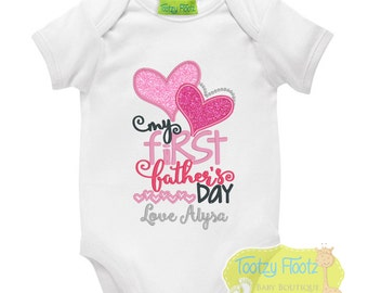 Father's Day Gift - Personalised Double Hearts - Onesie / Tee / Bodysuit - First Father's Day / Daddy / 1st Father's Day