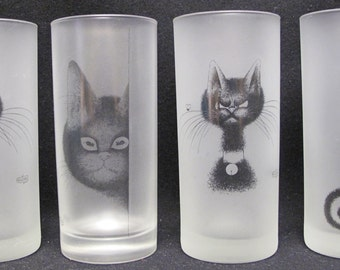 Set of Four Dubout Cat Drinking Glasses