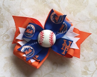 New York Mets Double Stacked Bow - single or pigtail set