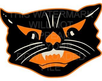Vintage Halloween Black Cat Instant Download Digital File