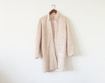 1980s light peach coat / vintage outwear / avant garde coat