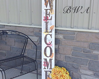 Primitive fall welcome sign, fall porch sign, autumn porch sign, rustic welcome porch sign, front porch sign