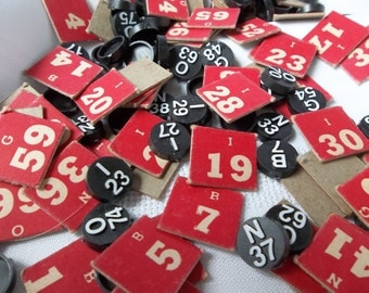 Set of 25 Vintage Bingo numbers  to use for collage, scrapbooks, vintage Bingo,  bingo ephemera, Bingo pieces -  letters and numbers