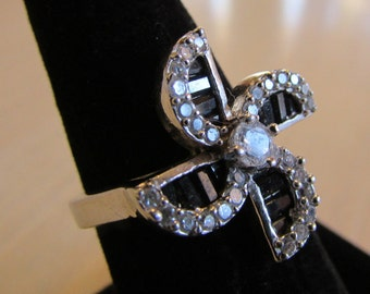 C Z and Faceted Black Onyx Sterling Silver Pinwheel Shape Ring Size 7 1/2