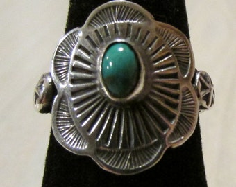Navajo Sterling Silver and Turquoise Concho Ring  Size 6 1/4