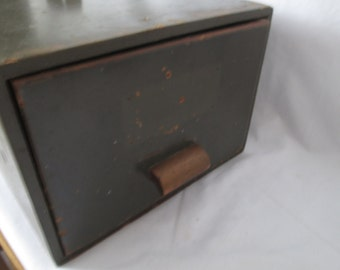 Vintage Wooden Military Field box Paperwork Records box with file type drawer top metal handle and handled drawer  WWII militaria