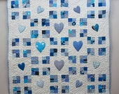 "Baby Boy Quilt, Blue Crib Quilt, Patchwork Quilt with Appliqued Hearts, New Baby Blanket,  Baby Nursery Bedding, Babyshower Gift, 44""x44"""