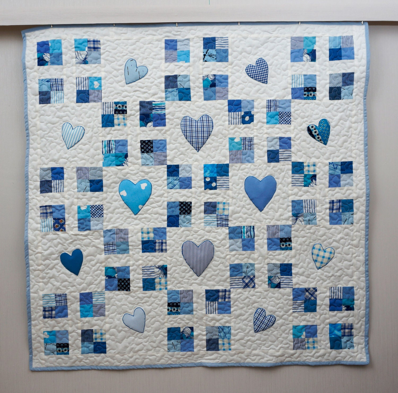 Baby Boy Quilt Blue Crib Quilt Patchwork Quilt With