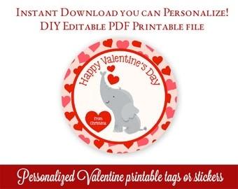 Kids Valentine's Day Tags, Printable Valentines, Personalized Valentine tags, Class Valentines Stickers, Editable PDF with Adobe Reader