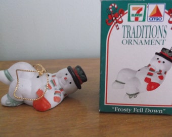 Vintage Christmas 7-Eleven Christmas ornament, Frosty Fell Down, 1993 Vintage Christmas ornament