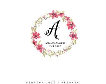 Custom Logo  Premade Logo  Logo  Business Logo  Branding  Flower logo  Boutique Logo  photography logo Wreath Logo  Watercolor