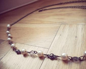 headband in ivory pearls