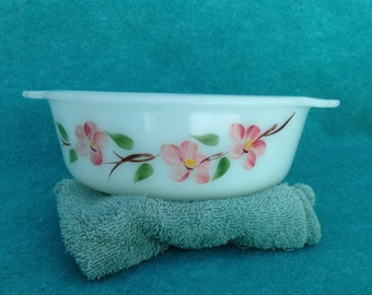 Fire King Peach Blossom Gay Fad Casserole Bowl 1 1/2 Quart No Lid