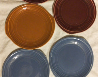 Vintage 1937, 1938 Edwin M. Knowles Yorktown Shape Bread and Butter Plates. Yellow, Blue, Mauve, Brunt Orange, Fiesta Colors, Vintage China