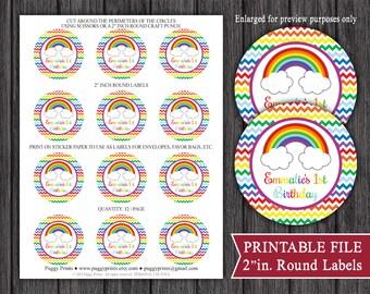 "Rainbow 2"" Inch Round Labels - Printable Rainbow Birthday Labels - DIY Favor Tags, Envelope Seals, Mason Jar Stickers"