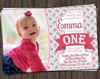 Floral Chic First Birthday Invitation - Floral Chic 1st Birthday Invitations